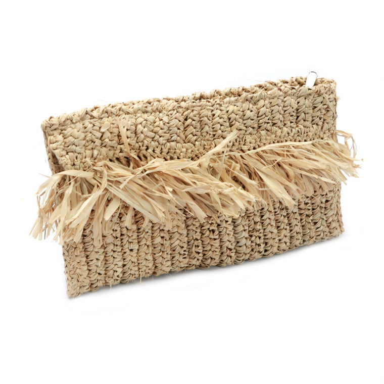 FRINGE RAFFIA CLUTCH  - NATURAL