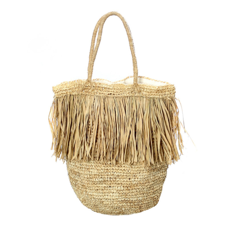 THE FRINGE RAFFIA TOTE  - NATURAL