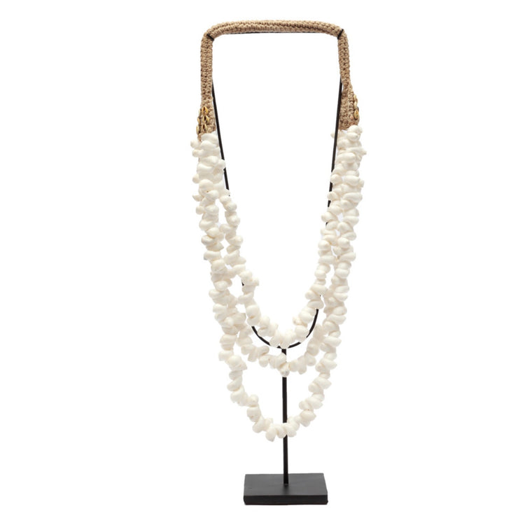 WHITE COASTAL SHELL NECKLACE ON STAND