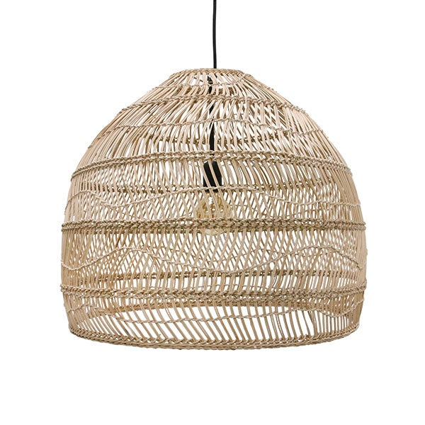 WICKER HANGING LAMP BALL- M