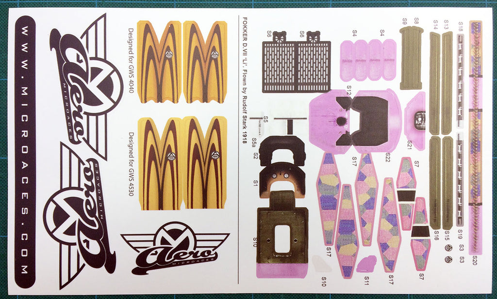 Fokker DVII Spare Parts - Sticker Sheet