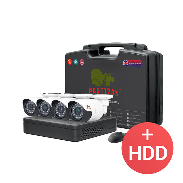 1.0MP Outdoor set AHD-5<br>4xCAM + 1xDVR + HDD