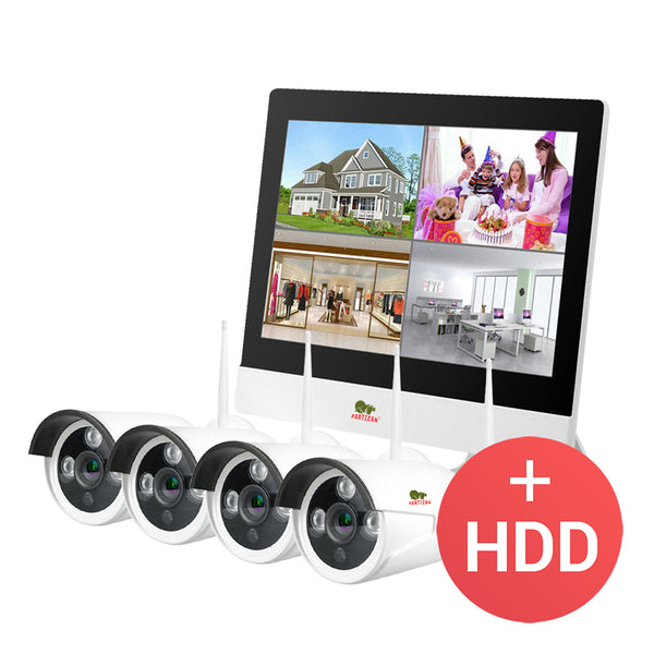 1.0MP Outdoor LCD Wi-Fi set IP-32<br>4xCAM + 1xNVR + HDD