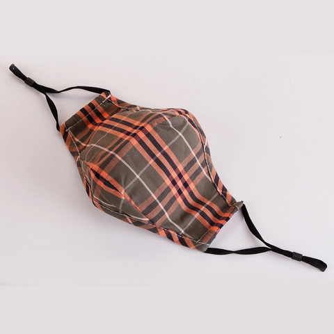 Vaskbart munnbind i bomull , ORANGE OLIVE PLAID