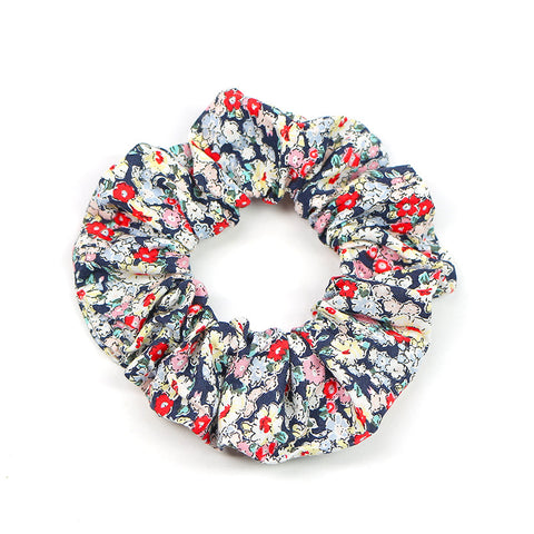 PETIT FLOWER cotton scrunchie, NAVY BLUSH