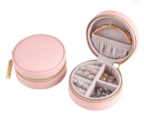 Smykke skrin, round leather i POWDER PINK