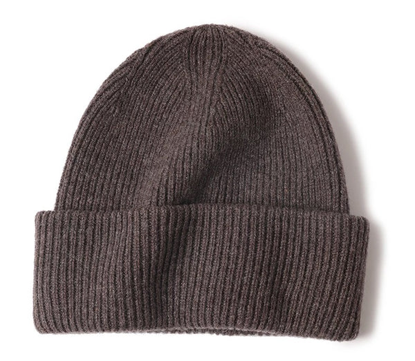 100 % WOOL BEANIE, DARK BROWN MELANGE