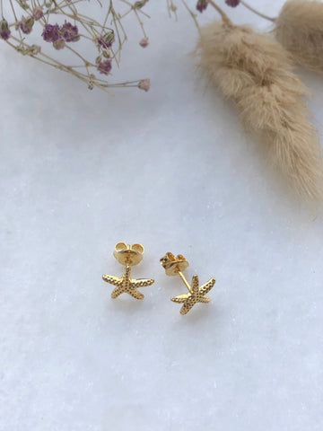 Starfish ear studs i  forgylt sølv