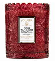 Boxed Scalloped Edge Candle duftlys , GOJI TAROCCO fra VOLUSPA, 50 timer