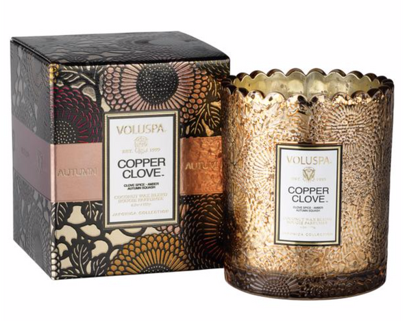 Boxed Scalloped Edge Candle duftlys , COPPER CLOVE fra VOLUSPA, 50 timer