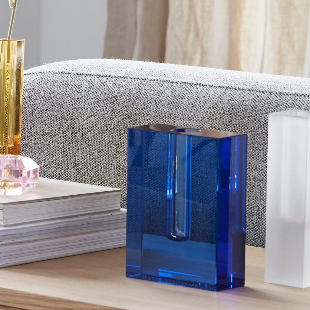 Crystal Air Float Sculpture Vase, Blue