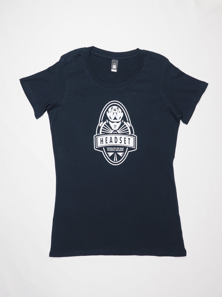 Headset Logo T Shirt Navy Ladies