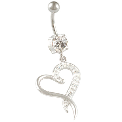 Heart Belly Ring Dangle Clear