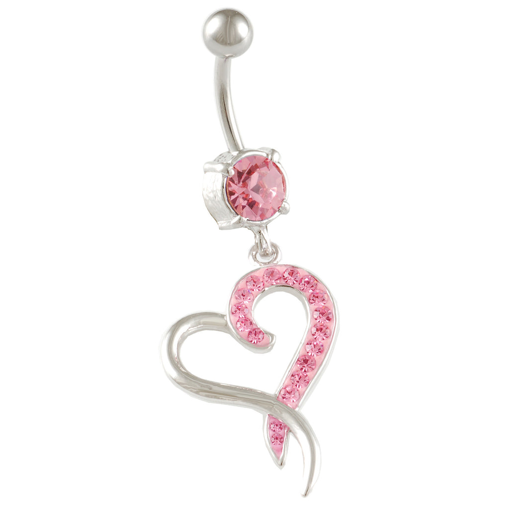Heart Belly Ring Dangle Light Rose
