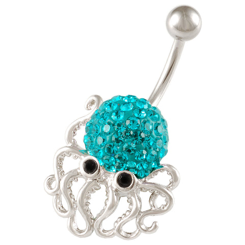 Octopus Belly Button Ring Navel Ring Blue-Zircon