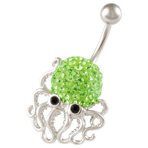Octopus Belly Button Ring Navel Ring Peridot