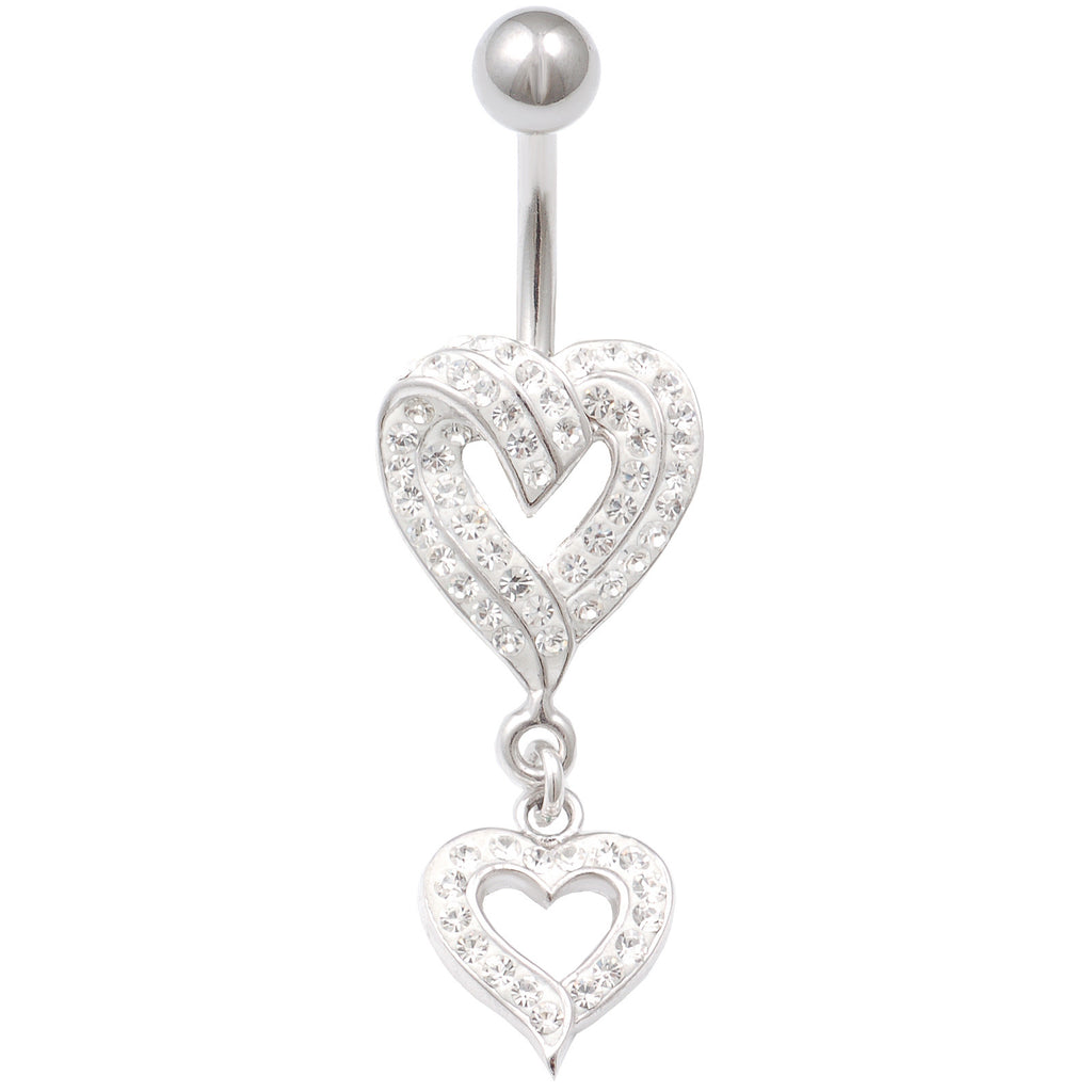 HEART DANGLE BELLY RINGS 14G 3/8 INCH