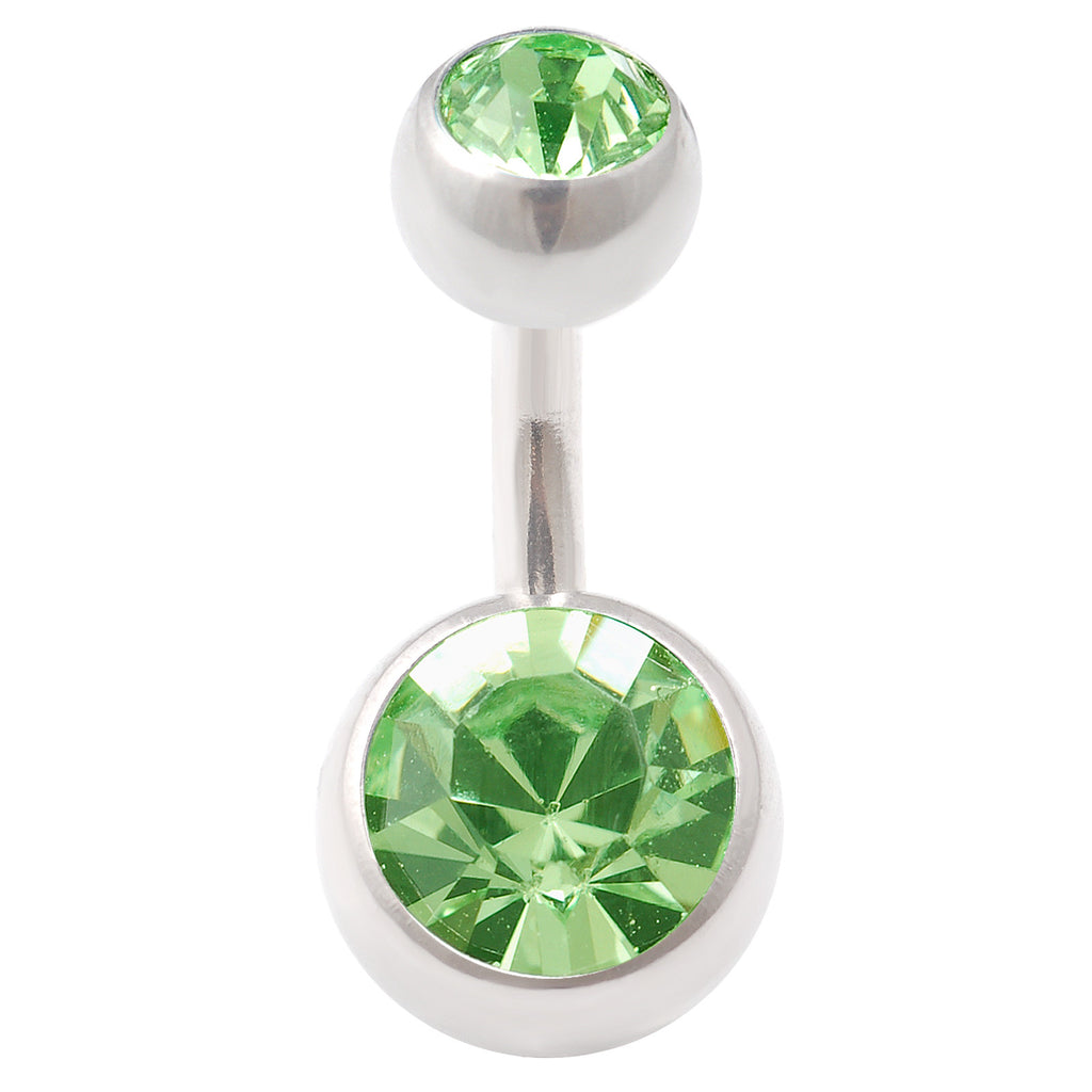 Peridot Double Gem Belly Ring Navel Swarovski