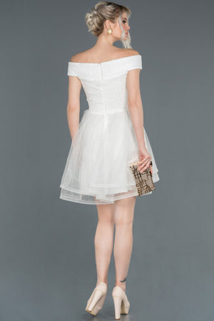 Short White Prom Gown AFWABK776
