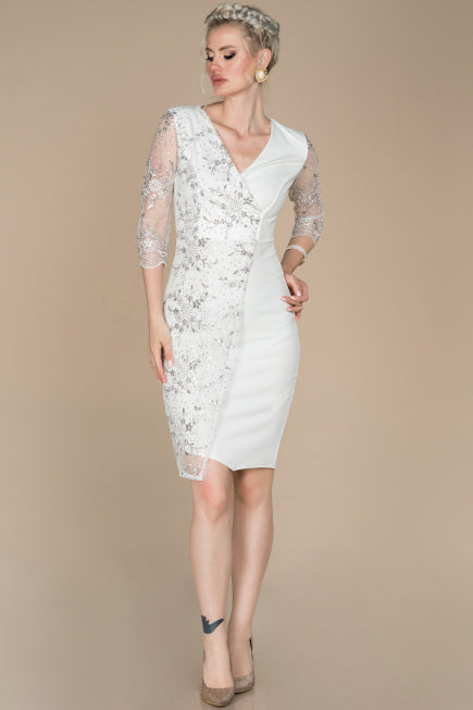 White Short Simple Civil Wedding Dress ABK832