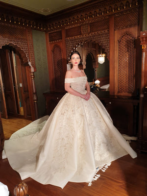 AFWNova  2020 off shoulder sparkling wedding dress
