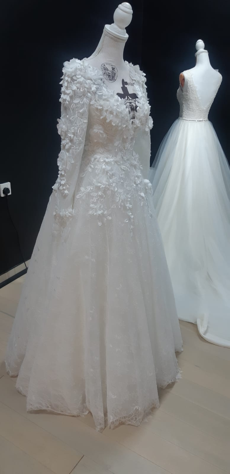 Rent unique detailed long sleeve lace wedding dress
