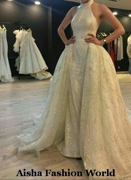 Aisha Fashion World Bridal 2 in 1 Stunning Wedding Dress in Qatar - aishafashionworld