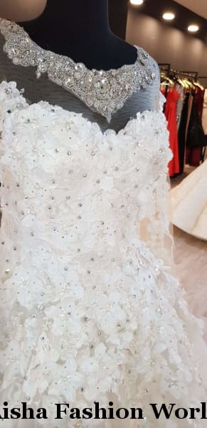 Aisha Fashion World Detailed Ball Lace Wedding - aishafashionworld