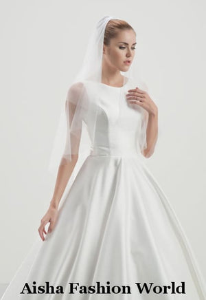 Aisha Fashion World Double Layered Elbow Wedding veil AFWV6-150/2 - aishafashionworld
