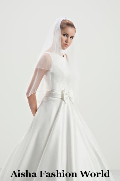 Aisha Fashion World Double Layered Elbow Wedding Veil AFWV7-150/2 - aishafashionworld
