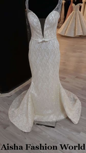Aisha Fashion World Glitter Mermaid Wedding Dress - aishafashionworld