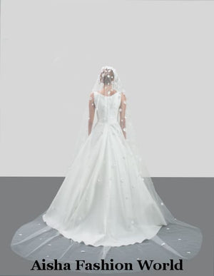 Aisha Fashion World V56-350/1 3D Flower Intensive Wedding Veil - aishafashionworld