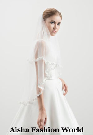 Double-layered elbow AFWV53-150/2 Wedding Veil With comb - aishafashionworld