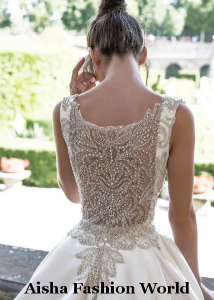 Elegant high end  wedding dress with crystal decoration at the back available in Qatar - aishafashionworld