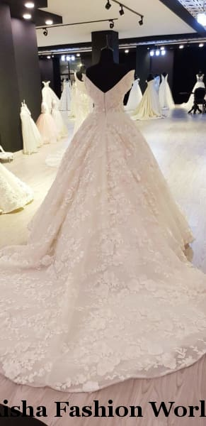 Full lace ball wedding dress - aishafashionworld