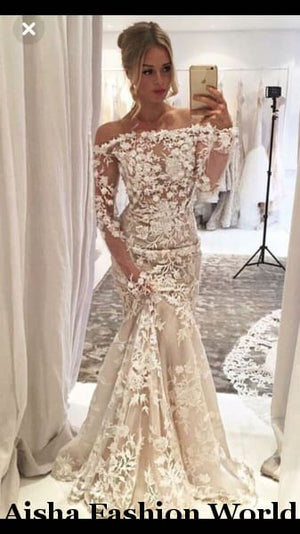Khadija's custom made mermaid wedding dress - aishafashionworld