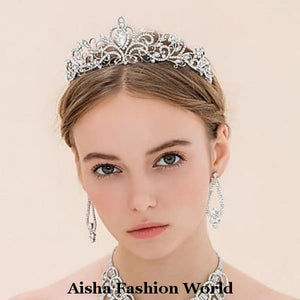 Rhinestone Alloy Tiara/Crown - aishafashionworld