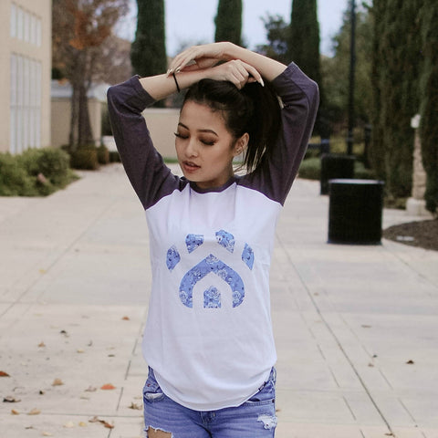 Teal Floral Paw Baseball Tee