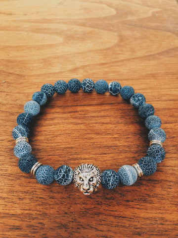Cracked Black Agate Lion - Save Animals - 1