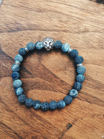 Cracked Black Agate Lion - Save Animals - 2