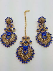 DC76267BLU KA - Antique gold finish Blue Necklace, Earrings and Tika set - Prachy Creations