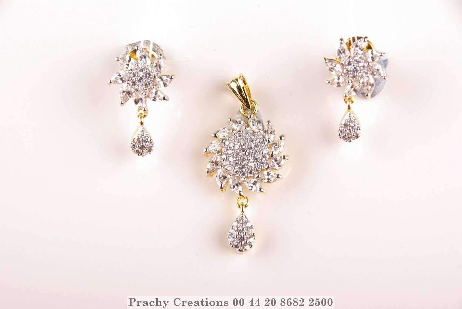 Prachy Creations : Floral pendant set with earrings 1073-92, Gold
