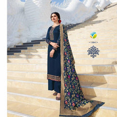 Navy Blue - Simple / Classy Ladies Indian Churidar suit with Handloom Dupatta - VFK12841 VC1120