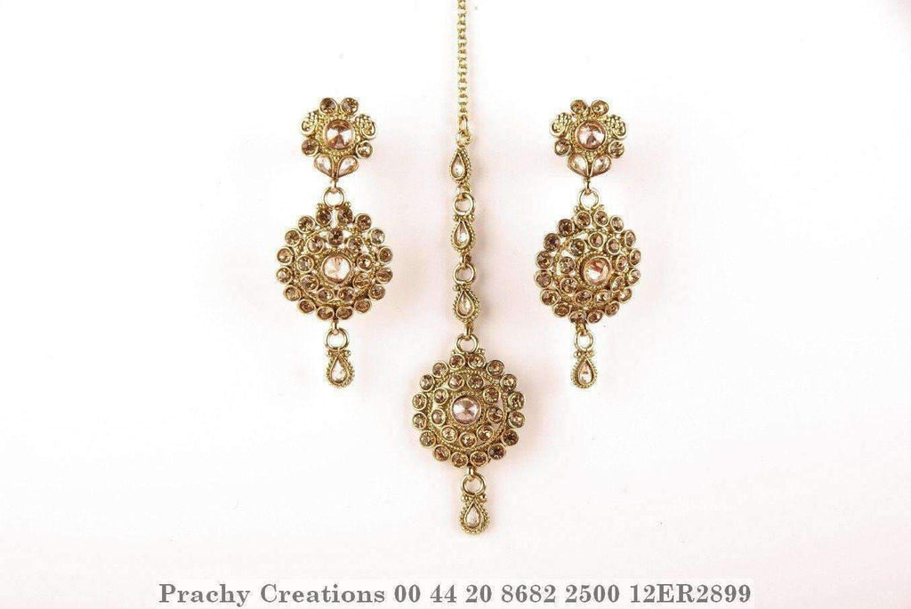Antique finish Tika with matching earrings 12ER2899 - Prachy Creations