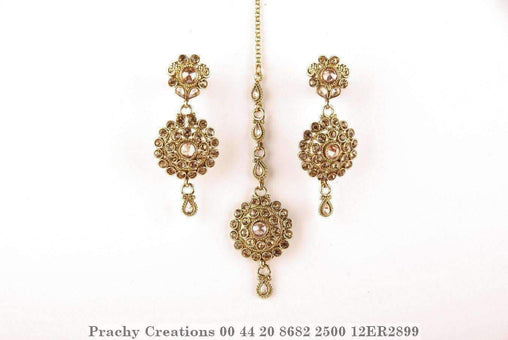 Prachy Creations : Antique finish Tika with matching earrings 12ER2899