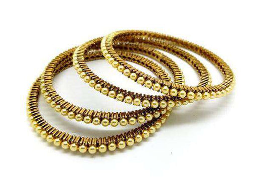 Prachy Creations : 15BG368 - a - Handmade Pearl Bangles - (set of 4)