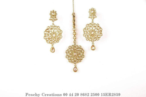 Antique Tika and earrings set with brown LCT stones15ER2859 - Prachy Creations