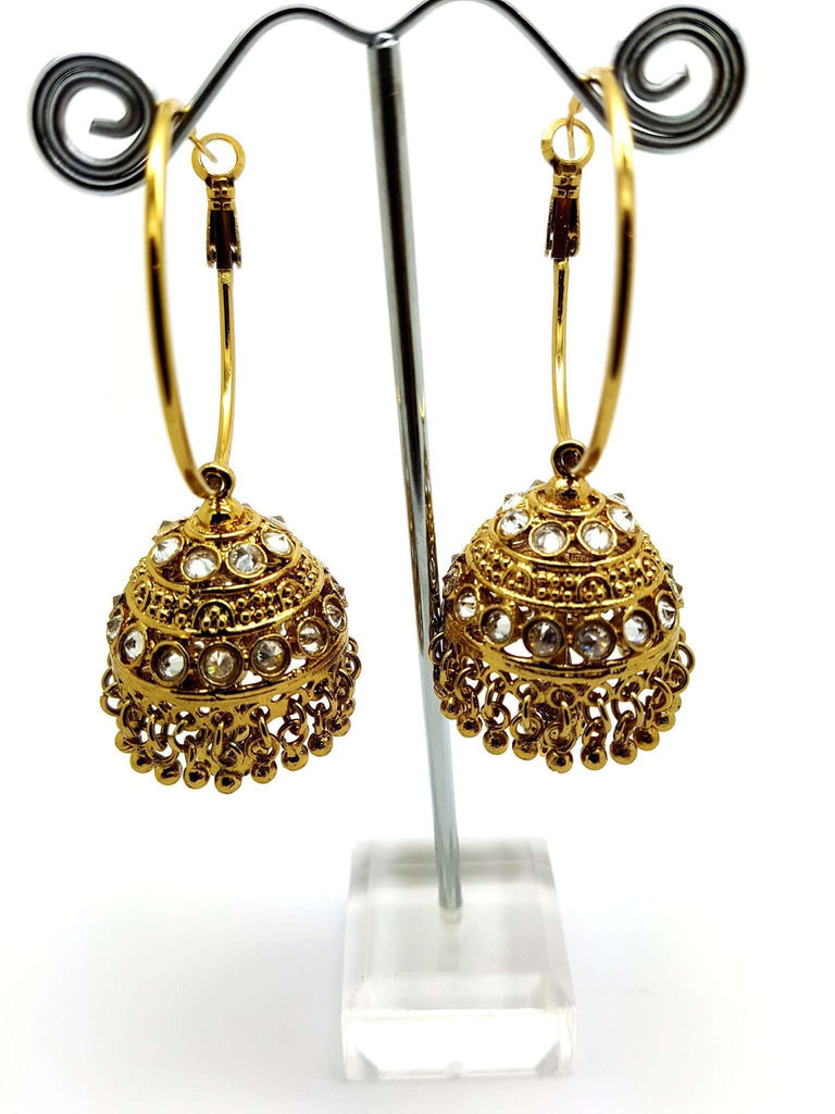 15ER3891 - a - Zhumki / Hoop Earrings Bollywood, Wedding, Bride - Prachy Creations