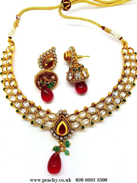 Prachy Creations : DJ 22193 - Choker necklace set - kt 1116, Medium / Multi / Antique