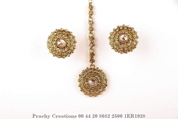 Antique finish Tika set with medium stud earrings1ER1928 - Prachy Creations